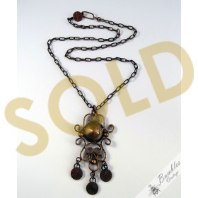 Ornate Vintage Bronze Tone Brass Metal Necklace in Egyptian Style c1960