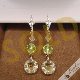 Vintage Bohemian Glass Dangle Drop Lever Earrings Neutral Color Green Silvertone