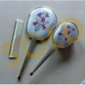 Vintage Old Floral Tapestry Hand Held Dressing Table Mirror & Brush Vanity Set