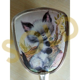 Cute Vintage Vanity Hand Held Brush with a Kitten Scene