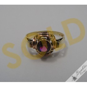 Vintage Bohemian 14k Gold Ring Synthetic Faceted Ruby Czech European