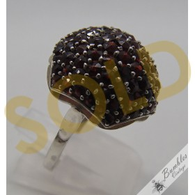 Unique Bohemian Garnet Vintage Ring Mushroom Shape 900 Silver