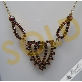 Vintage European Bohemian Garnet Vermeil Necklace Art Deco Design