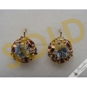 Beautiful Ornate Vintage 14k Yellow & Rose Gold Bohemian Lever Earrings c1920-30s