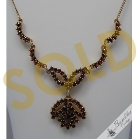 Lovely Vintage Bohemian Garnet Czechoslovakian Floral Necklace Gold over Silver