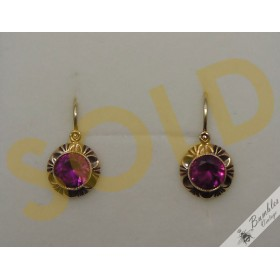 Vintage Bohemian 14k Solid Gold Earrings Petite Smal Pink European Czech