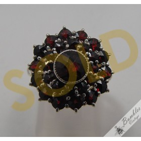 c1920 Vintage Bohemian Garnet Cluster Cocktail Flower Ring 800 Silver Czech