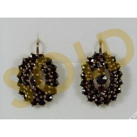 Original Vintage Bohemian Garnet Earrings Gold over Silver Vermeil Gilt Antique