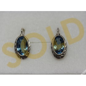 Original Vintage Bohemian Oval Aquamarine Earrings 900 Silver Czechoslovakian European