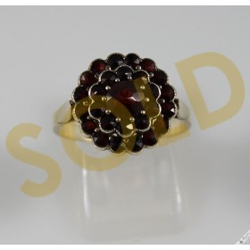 Genuine Vintage Bohemian Garnet Flower Cluster Ring Gold over 900 Silver Czech European