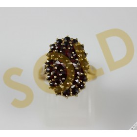 Original Vintage Bohemian Garnet Oval Cluster Ring Antique Gold over Silver sz L 1/2, 6