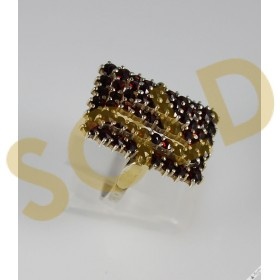 Huge Vintage Statement Bohemian Garnet Cocktail Cluster Ring