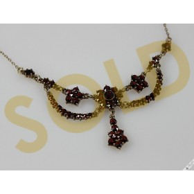 Vintage Rose Cut European Bohemian Garnet Garland Necklace Gold over Silver