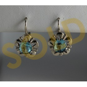 Vintage Silver Bohemian European Lever Earrings sim. Aquamarine Prong Set Flower c1960