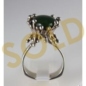 Unique Vintage Sterling Silver High Set Jade Cocktail Statement Ring Circa 1950s