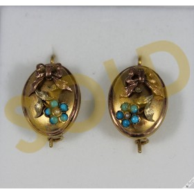 Antique 14k Yellow & Rose Gold Biedermeier Earrings Turquoise Pearl