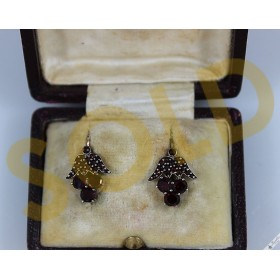 19th Century Antique Victorian Rose & Table Top Cut Bohemian Garnet Earrings Fruit Flower