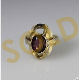 Vintage Bohemian 900 Silver Gold Wash Amethyst Ring Czech c1960 size N1/2, 7