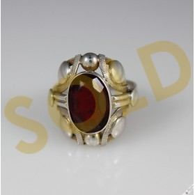 Vintage Bohemian Silver Ring Simulated Garnet Art Deco c1950s