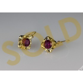 Vintage Czechoslovakia 14k Gold Lever Earrings Bohemian European Simulated Ruby c1960