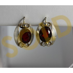 Large Vintage Bohemian Lever Silver Earrings Simulated Garnet Retro c1950s