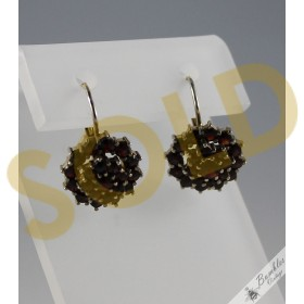 c1960 Vintage Rose Cut Bohemian Garnet 900 Silver Cluster Lever Earrings