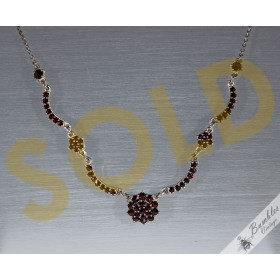 c1960 Vintage Rose Cut Bohemian Garnet European 900 Silver Lavalier Necklace