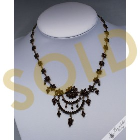 c1850 Old Antique Victorian Danlge Drop Garland Vintage Bohemian Garnet Necklace