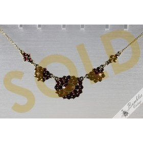 c1960s Vintage Rose Cut Bohemian Garnet Lavalier Necklace