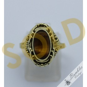 c1950 14k Gold Vintage Bohemian Ring with Tiger's Eye Cabochon