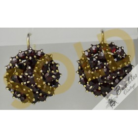 c1960s Vintage Rose Cut Bohemian Garnet 3 Tier Cluster Flower Lever Earrings