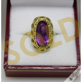c1950s 14k Gold Vintage Bohemian Amethyst Ornate Cocktail Ring sz K.5, 5.5