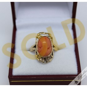 Unique Vintage Antique 9k Gold Natural Coral Cameo Ring sz N.5, 7