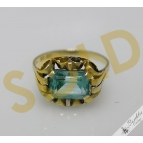 c1930 Art Deco Antique Bohemian 14k Gold Aquamarine Ring sz P, 7.75