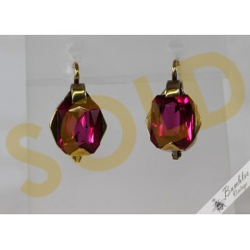 c1930 Art Deco Antique European Bohemian 14k Rose Gold Ruby Earrings