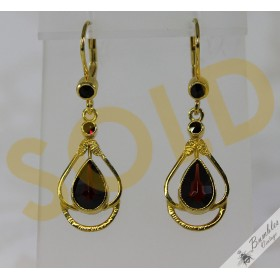 Vintage Sterling Silver Gilt Bohemian Garnet Dangle Drop Earrings