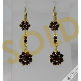 Vintage Bohemian Garnet Dangle Drop Flower Earrings c1960s