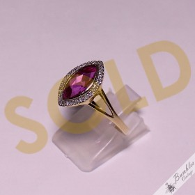 9k Yellow Gold Synthetic Ruby & Natural Diamond Ring