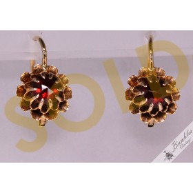 c1900s Antique 14k Gold Garnet Lever Earrings Austro-Hungarian Empire