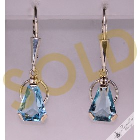Vintage Art Deco Bohemian Silver Lever Dangle Drop Blue Earrings sim Aquamarine c1950s