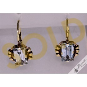 Vintage Czechoslovakian 14k Gold Aquamarine? Lever Earrings c1950s