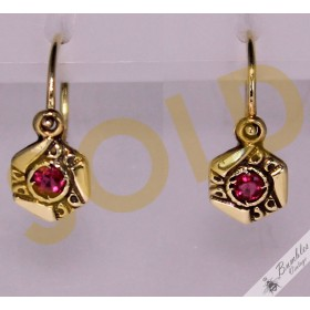 14k Solid Gold Synthetic Ruby Petite Children's Earrings