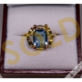 14k Yellow & Rose Gold Aquamarine Ornate Ring