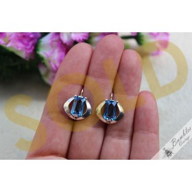 Vintage Art Deco Bohemian Czechoslovakian Silver Lever Earrings Blue