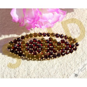 Vintage Bohemian Garnet Two Tier Oval European Silver Gilt Brooch c1960