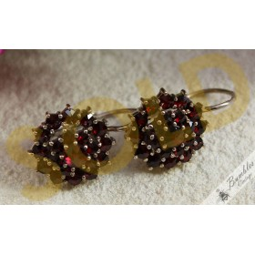Vintage Bohemian Garnet Cluster Flower Lever Silver Earrings
