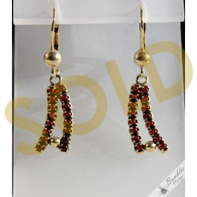 Vintage Bohemian Garnet Dangle Lever Gilt Earrings