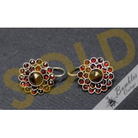 Antique Bohemian Garnet Cluster Flower Lever Earrings Tombak c1900s