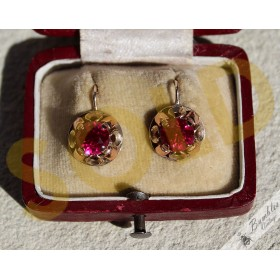 Vintage 9k Gold Lever Earrings Russian? Synthetic Rubies
