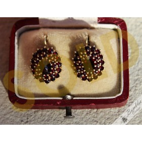 Vintage Bohemian Garnet Silver Gilt Cluster Lever Earrings